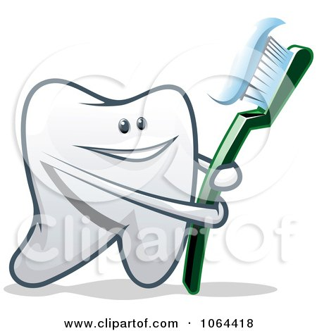 Clipart Happy Tooth With A Brush 1 - Royalty Free Vector Illustration by Vector Tradition SM