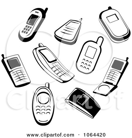 Clipart Black And White Cell Phones Digital Collage - Royalty Free Vector Illustration by Vector Tradition SM