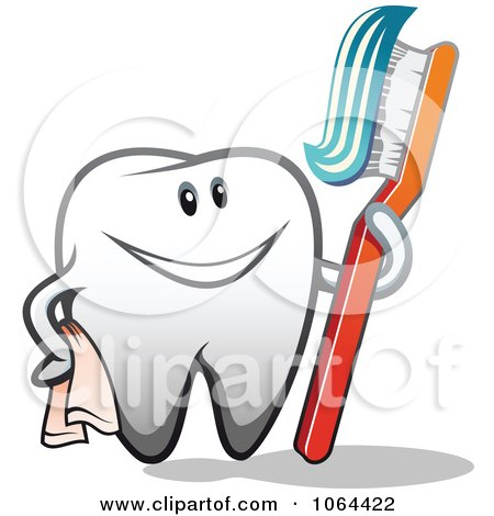 Clipart Happy Tooth With A Brush 2 - Royalty Free Vector Illustration by Vector Tradition SM