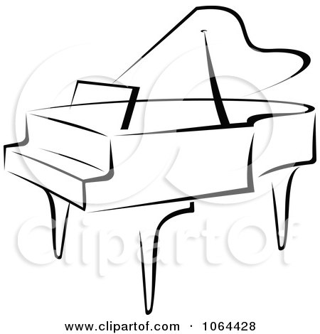 Clipart Grand Piano In Black And White - Royalty Free Vector Illustration by Vector Tradition SM