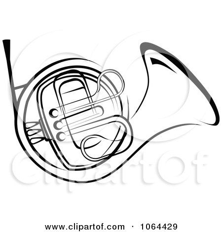 Clipart French Horn In Black And White