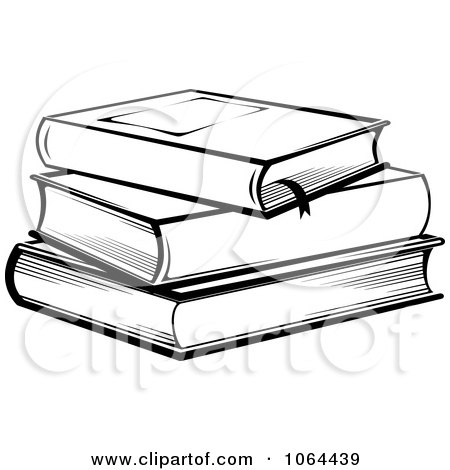 Clipart Stack Of Books In Black And White - Royalty Free Vector Illustration by Vector Tradition SM