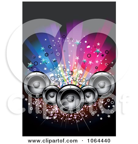 Clipart Music Speaker And Colorful Lights Background - Royalty Free Vector Illustration by Vector Tradition SM