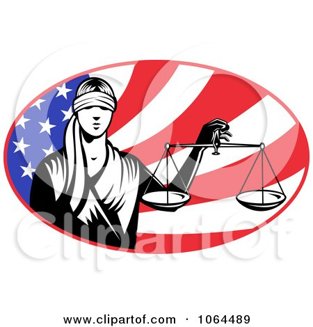 Lady Justice And American Flag Posters, Art Prints