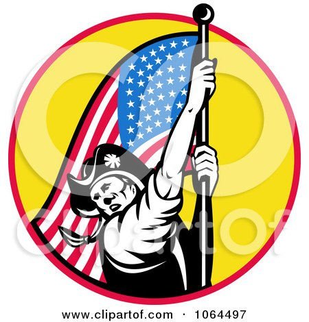 Clipart American Revolutionary Soldier And Flag Royalty Free Vector Illustration