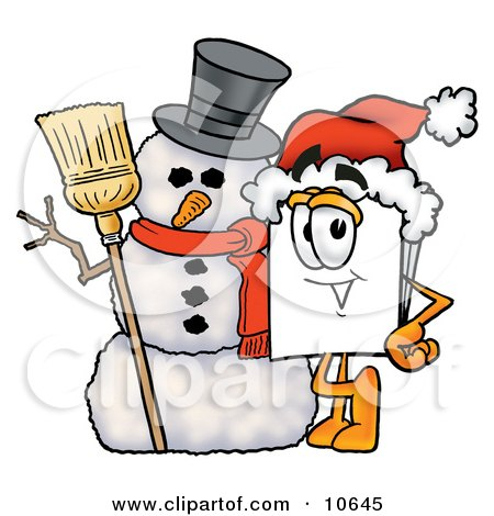 Clipart Picture of a Paper Mascot Cartoon Character With a Snowman on Christmas by Toons4Biz