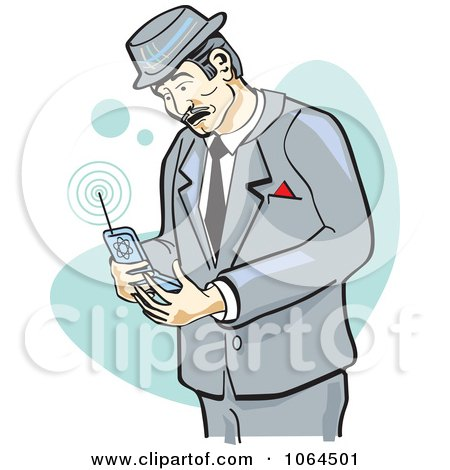 Clipart Retro Businessman Using A Cell Phone - Royalty Free Vector Illustration by Andy Nortnik