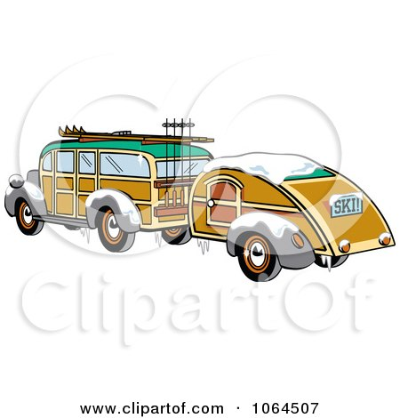 Clipart Woody Sedan With Skis And A Trailer - Royalty Free Vector Illustration by Andy Nortnik