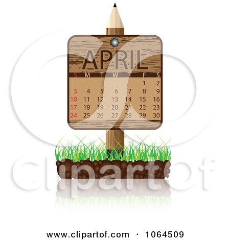Clipart Wooden April Calendar Posted In Grass - Royalty Free Vector Illustration by Andrei Marincas