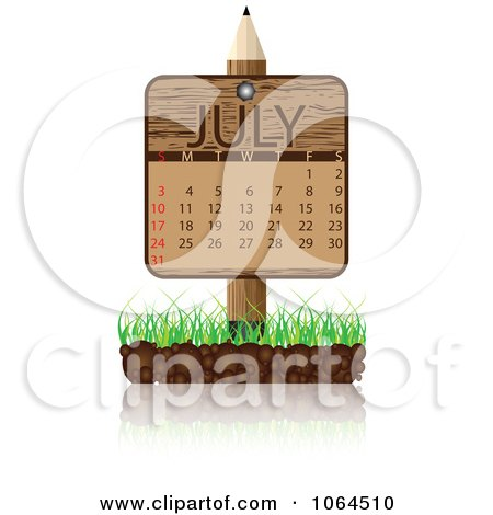 Clipart Wooden July Calendar Posted In Grass - Royalty Free Vector Illustration by Andrei Marincas