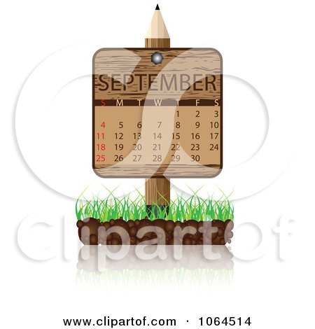 Clipart Wooden September Calendar Posted In Grass - Royalty Free Vector Illustration by Andrei Marincas