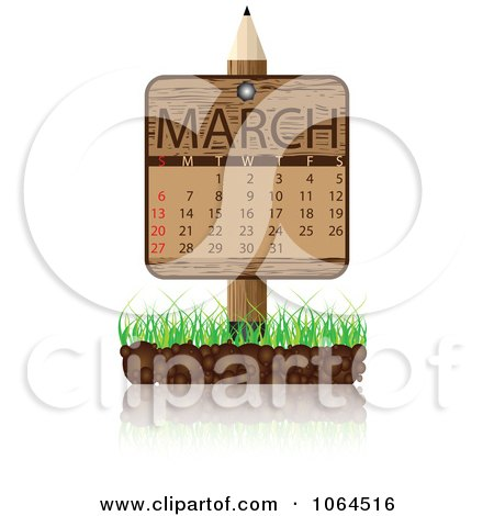 Clipart Wooden March Calendar Posted In Grass - Royalty Free Vector Illustration by Andrei Marincas