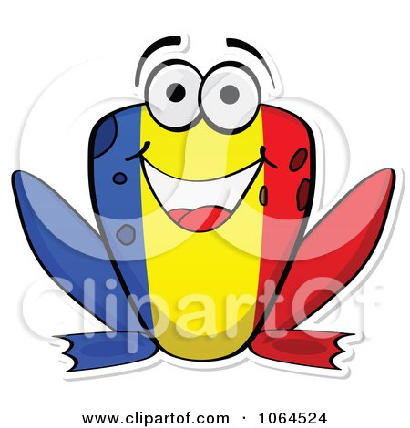 Clipart Romanian Flag Frog - Royalty Free Vector Illustration by Andrei Marincas