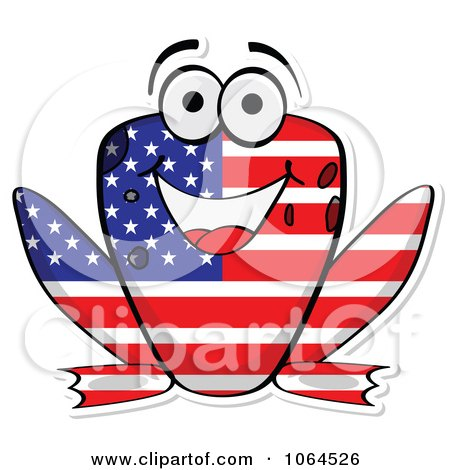 Clipart American Flag Frog - Royalty Free Vector Illustration by Andrei Marincas