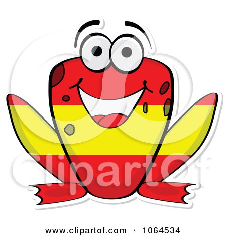 Clipart Spanish Flag Frog - Royalty Free Vector Illustration by Andrei Marincas