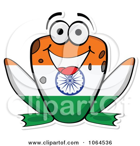 Clipart Indian Flag Frog - Royalty Free Vector Illustration by Andrei Marincas
