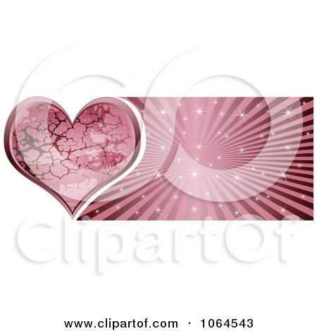 Clipart Pink Stone Heart Banner - Royalty Free Vector Illustration by Andrei Marincas
