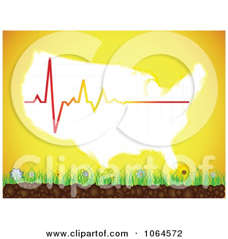 Clipart American Map Sun And Heart Beat Over Grass - Royalty Free Vector Illustration by Andrei Marincas