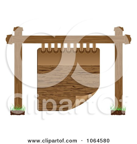 Clipart Wooden Notepad Sign - Royalty Free Vector Illustration by Andrei Marincas