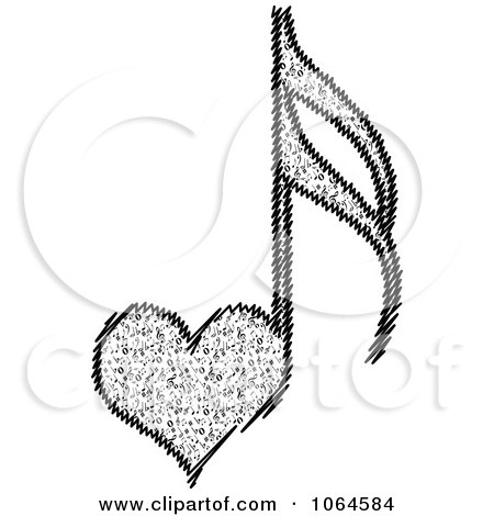 Clipart Heart Music Note - Royalty Free Vector Illustration by Andrei Marincas
