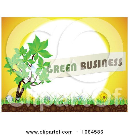 Clipart Green Business Plant Against The Sun - Royalty Free Vector Illustration by Andrei Marincas
