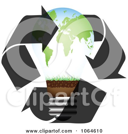 Clipart World Map Bulb With Recycle Arrows - Royalty Free Vector Illustration by Andrei Marincas