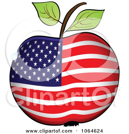 Clipart American Flag Apple - Royalty Free Vector Illustration by Andrei Marincas