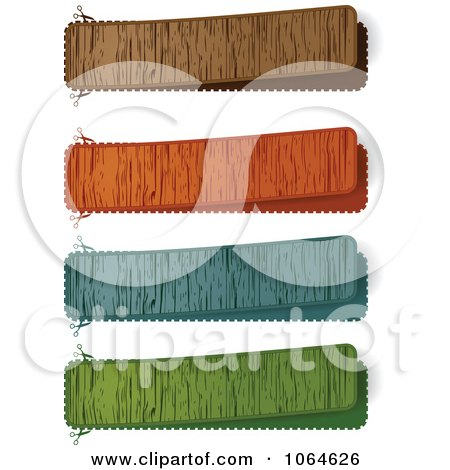 Clipart Colorful Wooden Banners - Royalty Free Vector Illustration by Andrei Marincas