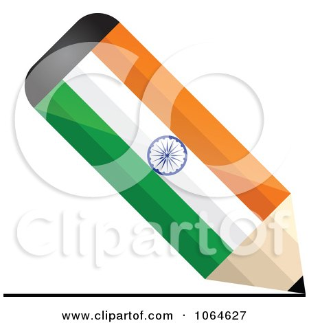 Clipart 3d Writing Indian Flag Pencil - Royalty Free Vector Illustration by Andrei Marincas