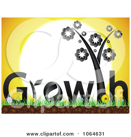 Clipart Black Growth Plant Against The Sun - Royalty Free Vector Illustration by Andrei Marincas