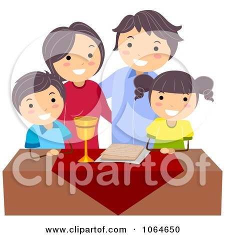 Clipart Jeweish Family Celebrating Passover With Matza - Royalty Free Vector Illustration by BNP Design Studio