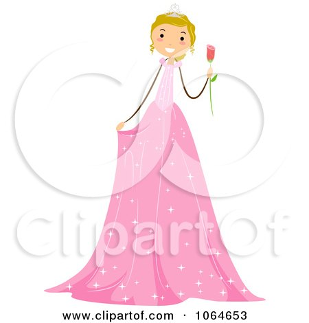 Clipart Stick Girl In A Pink Birthday Dress - Royalty Free Vector Illustration by BNP Design Studio