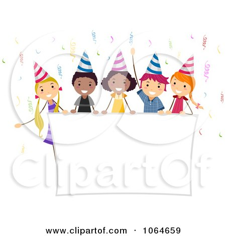 Clipart Kids Holding A Party Banner - Royalty Free Vector Illustration by BNP Design Studio
