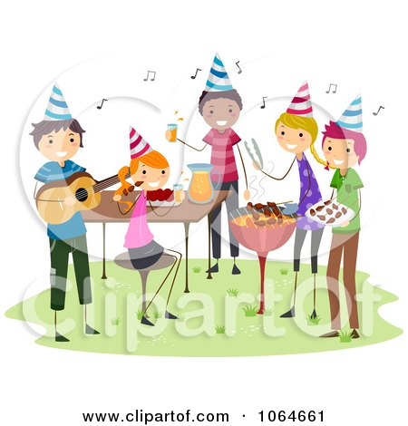 Clipart Happy Blond Woman Cooking Steaks On A BBQ - Royalty Free Vector Illustration ...