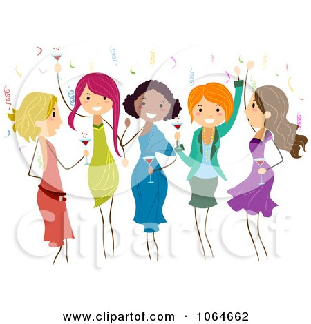 Clipart Group Of Ladies Dancing At A Party - Royalty Free Vector Illustration by BNP Design Studio