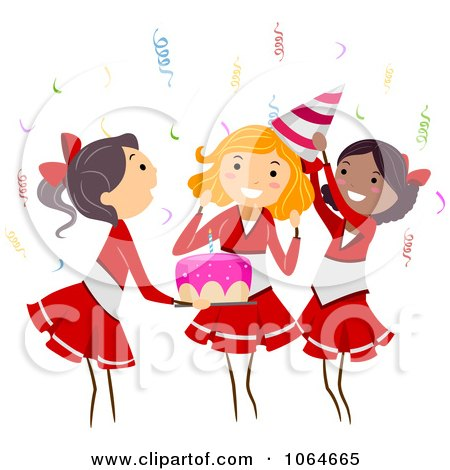 Clipart Cheerleader Themed Birthday Party - Royalty Free Vector Illustration by BNP Design Studio