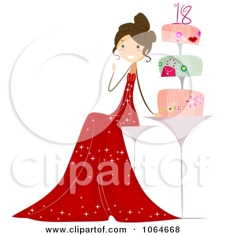 Clipart Eighteen Year Old Girl By Her Cake - Royalty Free Vector Illustration by BNP Design Studio