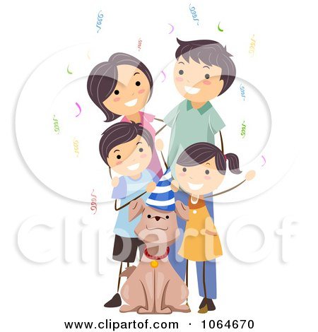Clipart Family Celebrating Their Dogs Birthday - Royalty Free Vector Illustration by BNP Design Studio