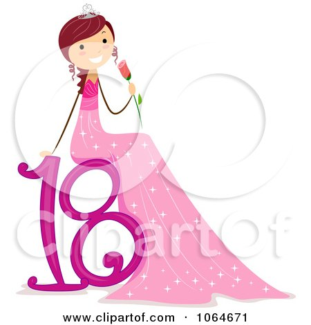 Clipart Girl Sitting On 18 And Holding A Rose - Royalty Free Vector Illustration by BNP Design Studio