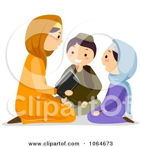 Clipart Muslim Family Reading The Koran - Royalty Free Vector Illustration by BNP Design Studio