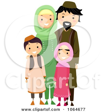 Clipart Happy Muslim Family - Royalty Free Vector Illustration by BNP Design Studio