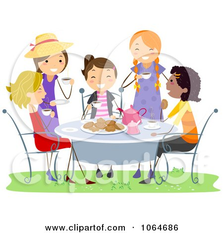 Clipart Girls Having A Tea Party - Royalty Free Vector Illustration by BNP Design Studio