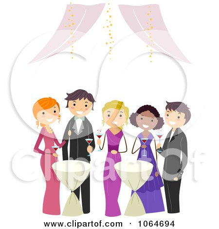 Clipart Teens At Prom - Royalty Free Vector Illustration by BNP Design Studio