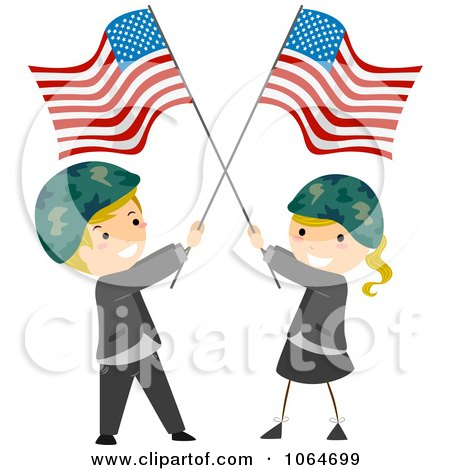 Clipart Memorial Day Kids Wearing Helmets And Holding American Flags - Royalty Free Vector Illustration by BNP Design Studio