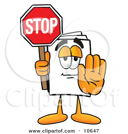Clipart Picture of a Paper Mascot Cartoon Character Holding a Stop Sign by Toons4Biz