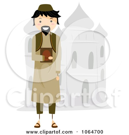 Clipart Muslim Man By A Mosque - Royalty Free Vector Illustration by BNP Design Studio
