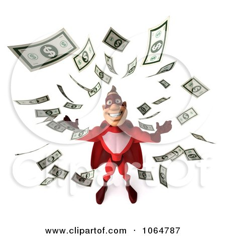 Clipart 3d Red Super Hero Guy Surrounded By Cash - Royalty Free CGI Illustration by Julos