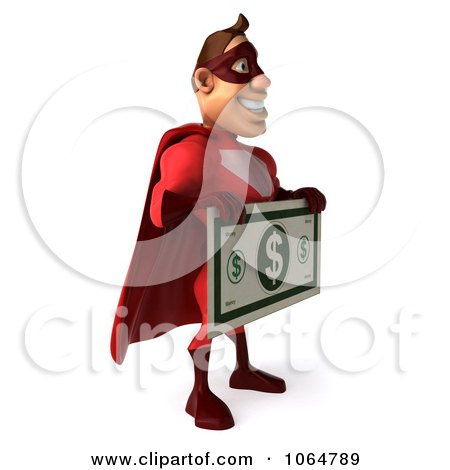 Clipart 3d Red Super Hero Guy Holding Cash - Royalty Free CGI Illustration by Julos