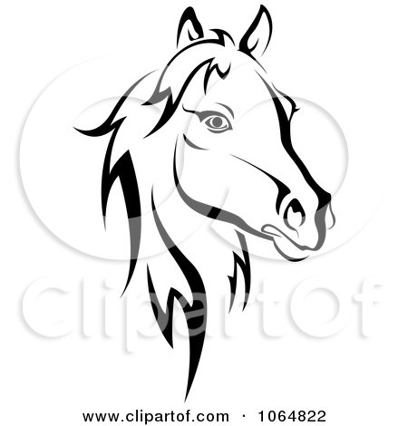 Clipart Horse Head Logo In Black And White 2 - Royalty Free Vector Illustration by Vector Tradition SM