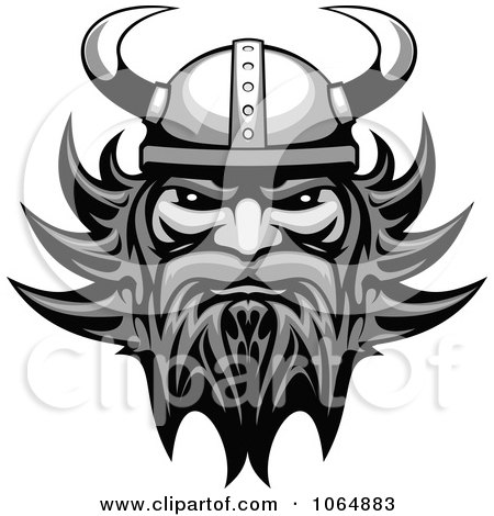 Clipart Grayscale Tough Viking - Royalty Free Vector Illustration by Vector Tradition SM